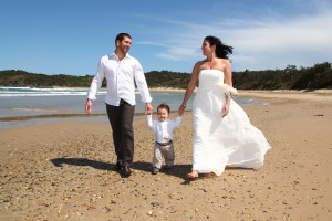 Eloped- Couple with son on Diggers Beach